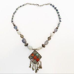 Jewelry - Boho Tribal Faux Gemstone Fringe Necklace